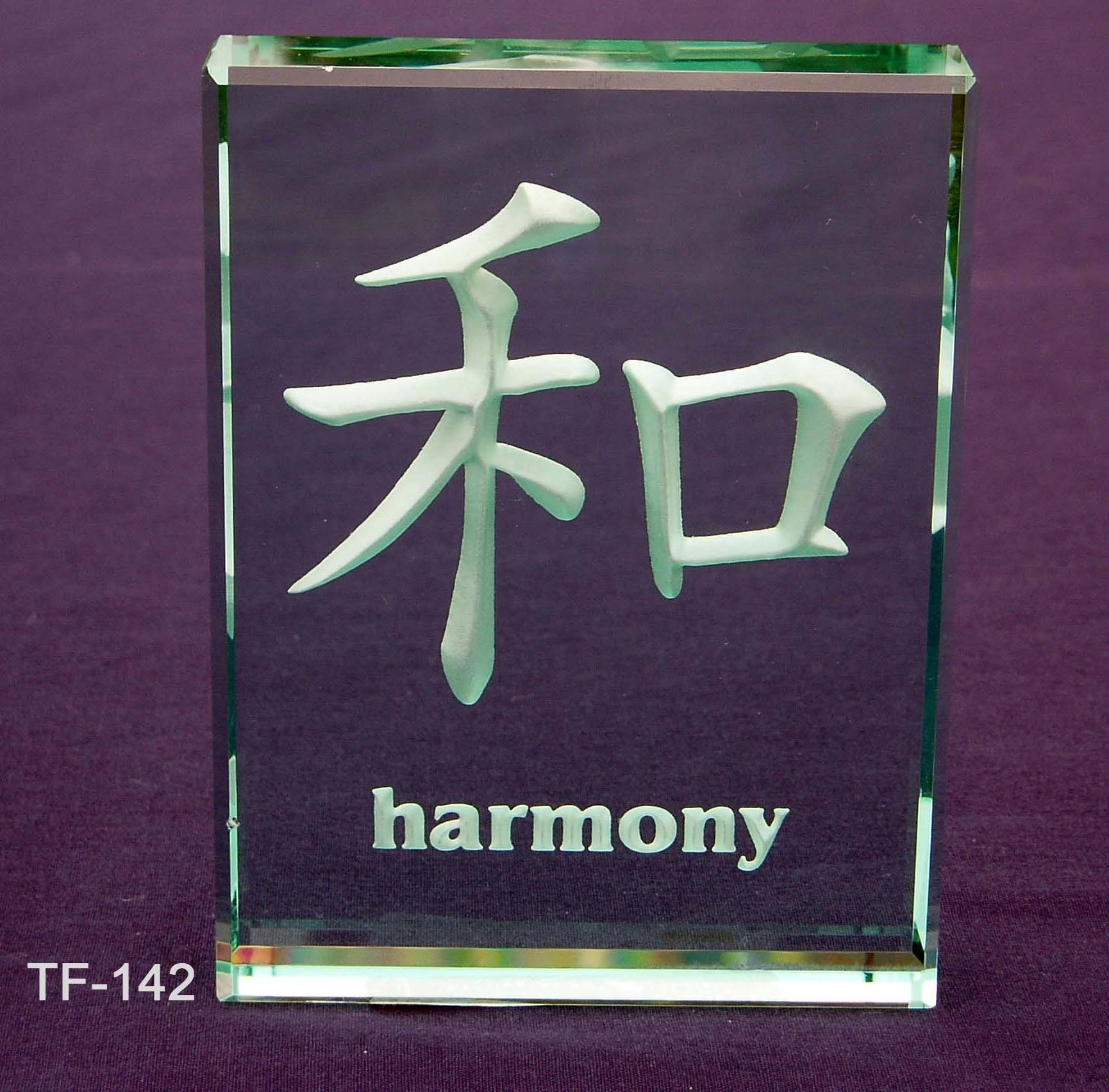 Etched Glass Japanese Chinese Symbols